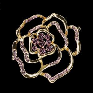 Брошь Роза Любви розовые камни